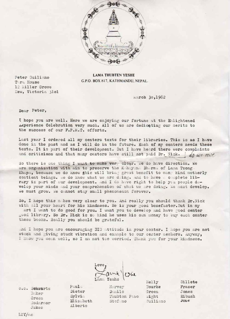 1982 letter from Lama Yeshe